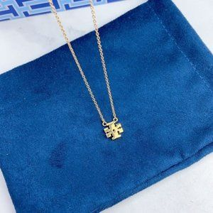 Tory Burch Classic Diamond Logo Gold Necklace
